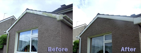 Before and After Hand Cleaning Fascia and Soffit Cleaning by GM Services, Cork, Ireland