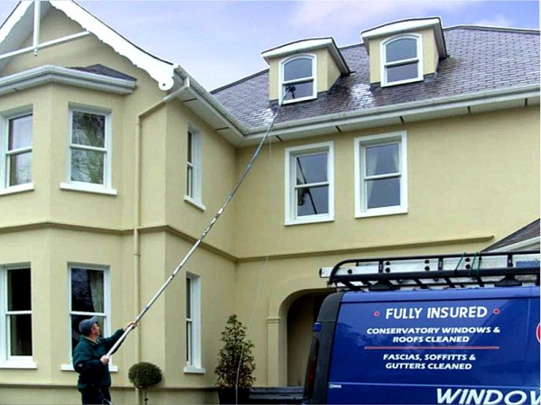 Purewater Window Cleaning using a waterfed pole from GM Services, Cork, Ireland