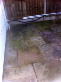 Patio before soft washing by G M Services, Window Cleaning & Power Washing, Cork, Ireland