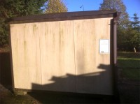 Shed before soft washing by G M Services, Window Cleaning & Power Washing, Cork, Ireland