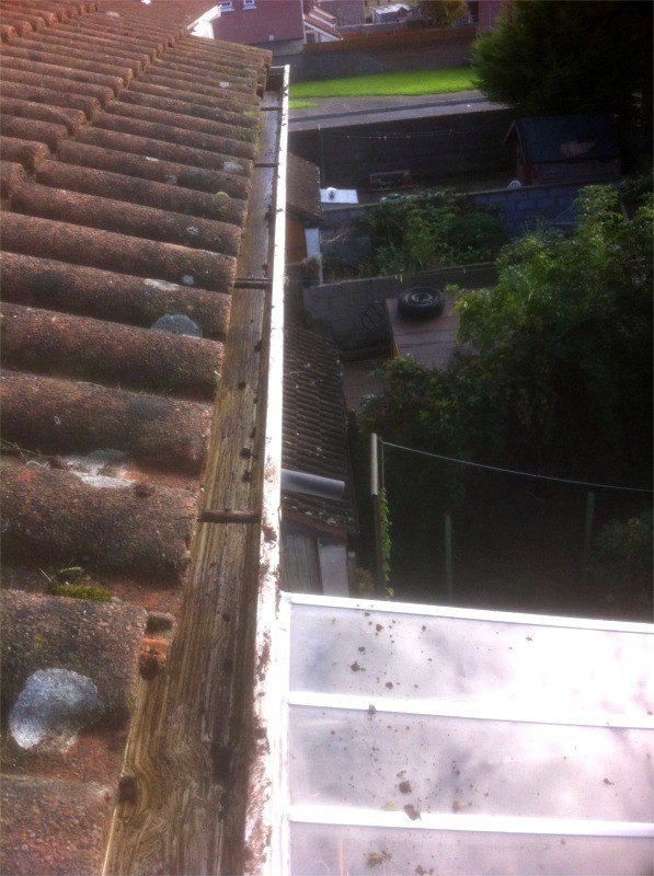 After gutter cleaning with grass removal by G M Window Cleaning Services, Cork, Ireland